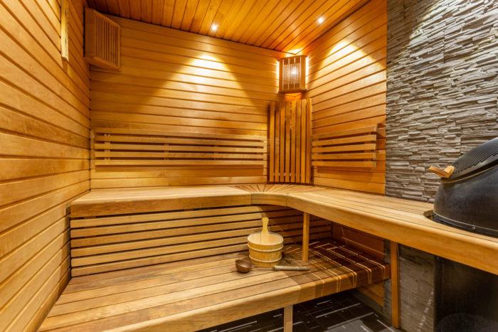 Sauna Interior Details Wooden Bucket