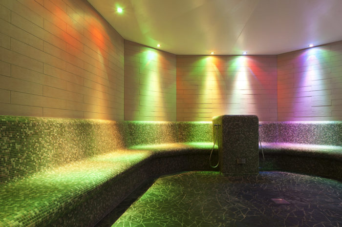Colorfull Illuminated Steam Bath In Publis Swimming Pool