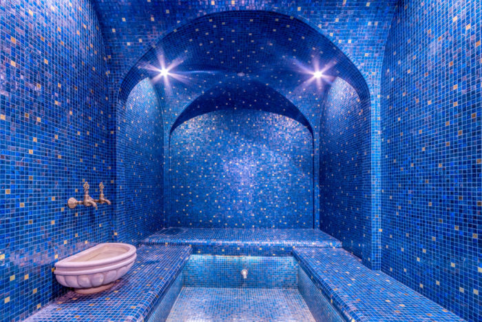 Colorful Turkish Bath Interior. Luxurious Steam Bath Hamam (hammam).
